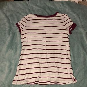 Maurices Maroon and White Striped Shirt